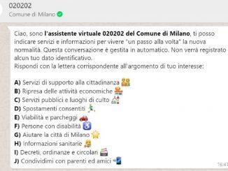 """Il Comune su Whatsapp, la chat automatica: """"Milano prima in Europa"""""""