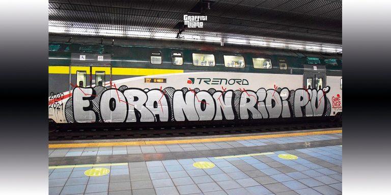 Graffiti treno covid Milano